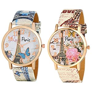 casera Casual Analogue Multicolored Dial Women's & Girls Watch (Multicolored Dial Multicolored Colored Strap) (Pack of 2…