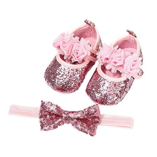 Auxma Babyschuhe für 0-18 Monate, Baby Mädchen Bequeme Anti-Rutsch Prinzessin Kleinkind Schuhe Krabbel Hausschuhe mit 1 PC Stirnbänder Haarband (12cm/6-12 M, Rosa) 6m Schuhe