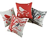 Set of 4 CaliTime Throw Pillows Covers Vintage Birds Branches, 45cm X 45cm, Black Red
