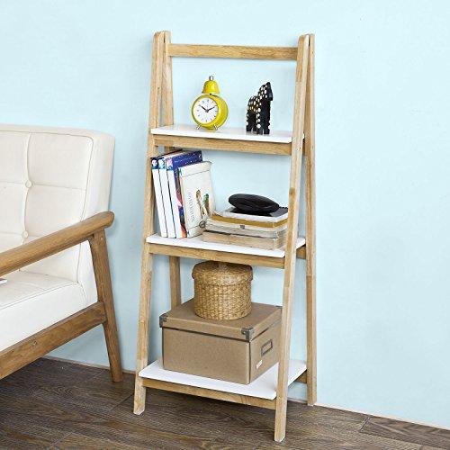 SoBuy® Scaffale a scala,Libreria,Scaffale componibile,in legno di Hevea,pieghevole, FRG163-N,IT