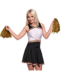 Anladia Cheerleader Kostuem Uniform Cheerleading Cheer Leader mit Pompon Minirock GOGO Damen Maedchen Karneval Fasching