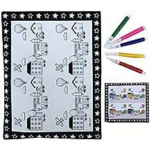 Fai da te Kids Painting Coloring Palette Concavo-convex Drawing Pad con penne [House]