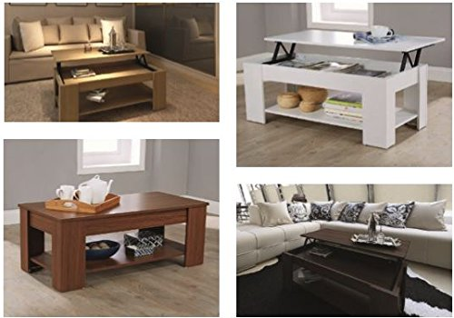 Lift Up Coffee Table with Storage Available in 4 Colours White