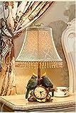 Tischlampe Schreibtischlampe Wohnzimmer Schlafzimm Dekorative Lampe Schlafzimmer Nachttischlampe Vogel-Uhr Kontinentalen Landschaft Modernes Unbedeutendes Warm Kreativ Tischleuchte YANGFF-Nachttischlampen ( Farbe : Dimmschalter )