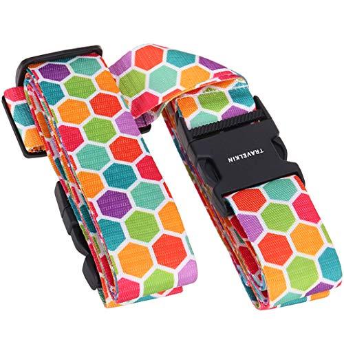 Freelynn Koffergurt Gepäckgurt Farbig Kreuz für Koffer 20-32 Zoll, 2-Wege 230 & 200CM Extra Lang Einstellbar, Schnalle & Namensschild Slot - Bienenwabe