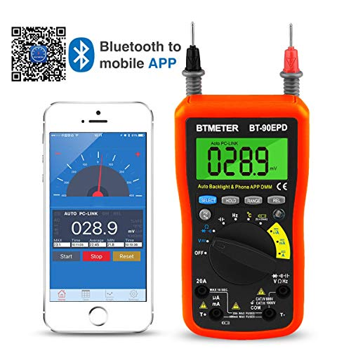 Digital Multimeter, Multimeter Bluetooth,BT-90EPD Advanced Multimeter mit 4000 Counts, Diodentest, Automatische Bereichsauswahl,Temperaturmessung, Hintergrundbeleuchtung,Batterietest(Orange)