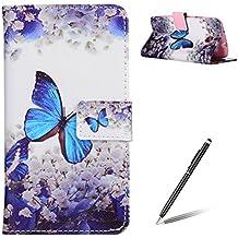 Funda de cuero PU para Samsung Galaxy S3/9300,Cierre Magnético,Función de Soporte,Billetera con Tapa para Tarjetas,Anti-rasguños,Protección Total del Cuerpo Bumper Case - Mariposa Azul