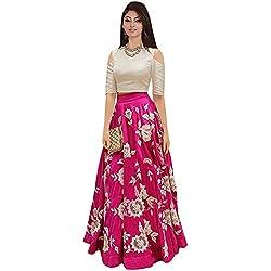 Ecolors Fab Women's Silk Lehenga Choli (2001_Navy_Blue01_Pink_Free Size)