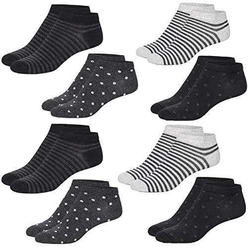 8 Paar Damen Sneakersocken Füßlinge mehrfarbig mit Streifen, Punkte und Herzen (39/42, Schwarz)