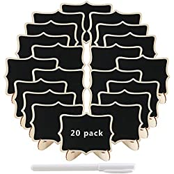 20 unidades mini pizarras de madera con soporte