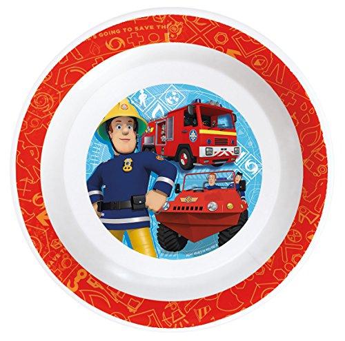 Feuerwehrmann Sam 7 teiliges Melamin Küchenset für Kinder, Teller, Müslischale, Suppenteller, Besteckset, Kinderbecher und Platzset als preiswertes Tisch-Set - 3