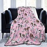 Blanche Lynd Flanell-Plüsch-lustige Wurfs-Decke, Pferde u. Blumen-rosa Muster-kleines Mädchen-Raum-Aquarell-Wurfs-Stuhl und Starkes 50x40 Zoll