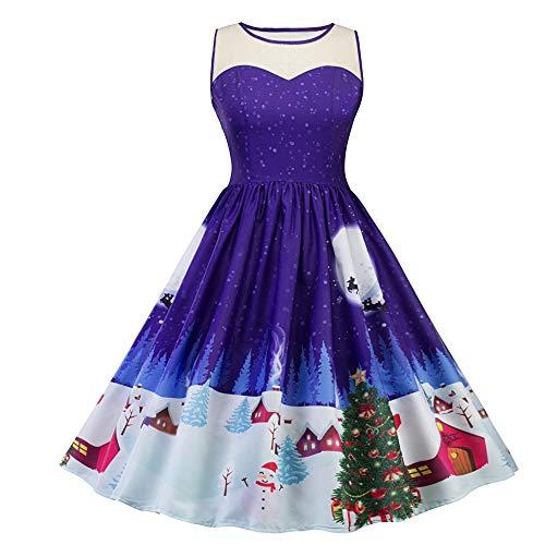 Yesmile Vintage Kleid Weihnachts Ballkleide 50s Retro Blumen Cocktail Schwingen Party Kleider