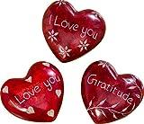 3 STK. Herz Speckstein rot Set Liebe Handschmeichler 6,5 cm I Love You Gratitude Liebe Amor