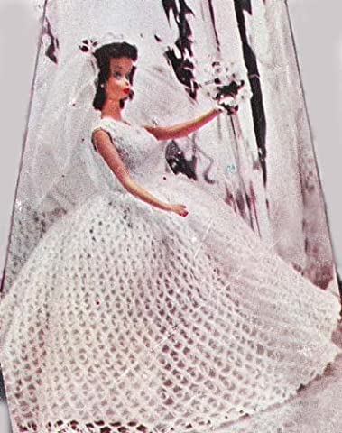 Crochet Bridal Gown Wedding Dress Pattern for 8-10-12-19 inch Dolls Barbie Ginny