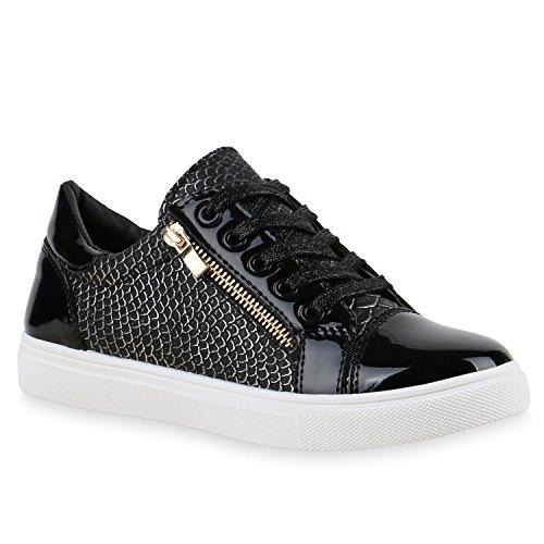Damen Sneakers Metallic | Sneaker Low Zipper | Glitzer Schuhe Lack | Animal Print Turnschuhe | Sportschuhe Leder-Optik | Plateau Flats | Flandell®