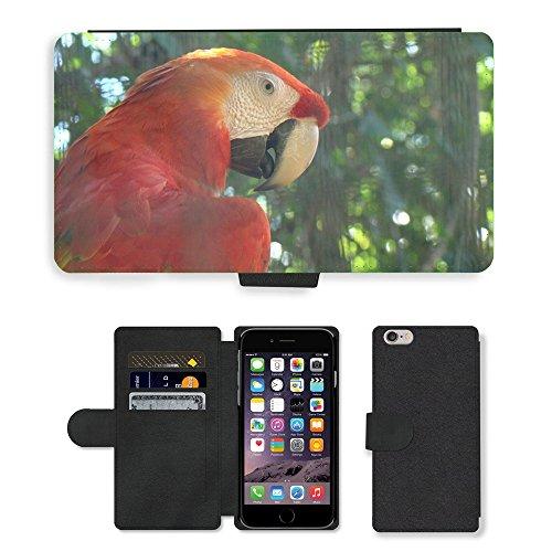 Just Mobile pour Hot Style Téléphone portable étui portefeuille en cuir PU avec fente pour carte//m00138994Arara Bird Animal Nature Forêt Rouge//Apple iPhone 6Plus 14cm