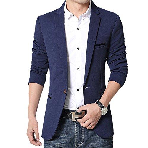 donhobo Herren Sakko Slim Fit Freizeit Modern Solid Business Jacken Smoking Hochzeit Blazer(Blau,XL)