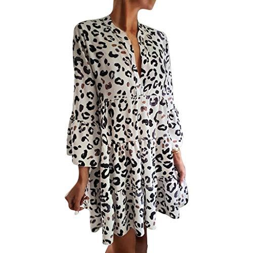 Sleeve Leopard-print-kleid (CRRE Leoparden Kleid Damen Sexy V-Ausschnitt Kleid Leopard Bodycon Kleid Leopard Bandeau Stretch Animal-Print Kleid)