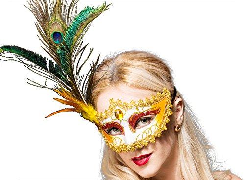 Moolecole Kostüm Maske Feder Maskenspiel Maske Halloween Mardi Gras Maske Cosplay Party Maske Gold (Machen Sie Es Sich Paare Halloween Kostüme)