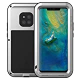 LOVE MEI Huawei Mate 20 Pro hülle, Outdoor Sports Heavy Duty Tank Armor 360 Grad Powerful Bumper stoßfest staubdicht Metall Case Cover Fall Schutzhülle für Huawei Mate 20 Pro (Silber)