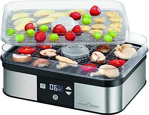 Profi Cook PC-DR 1116 Dörrautomat, Edelstahl, elektronische Temperatureinstellung, LCD-Display, 350 W