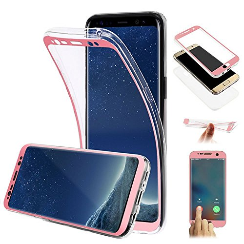 Galaxy S6 Edge Hülle,Galaxy S6 Edge Silikon Hülle,JAWSEU Schutzhülle Samsung Galaxy S6 Edge Hülle [Glitzer Strass Ring Stand Holder], Luxus Glitzer Bling Diamant Strass Spiegel TPU Case für Samsung Ga 360 Grad:Rose Gold