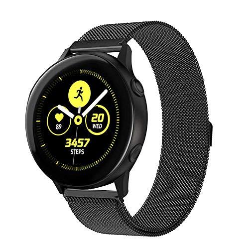 VANCHAN kompatible Samsung Galaxy Watch Active/Galaxy 42mm Armband,Solid Edelstahl Metall Ersatzarmband Uhrenarmbänder kompatibel mit Samsung Galaxy Watch Active/Galaxy 42mm Uhr (A-Schwarz)
