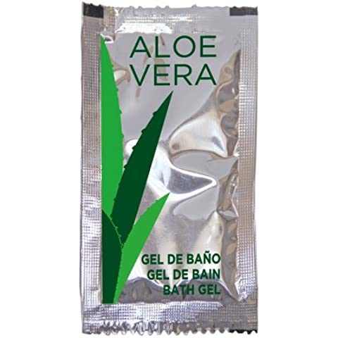 SACHET GEL BAÑO ALOE VERA- 10 ML - Pack de 1000 Unidades - 10x5 cm - Color: