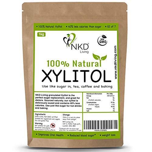 El xilitol granulado de NKD Living es el sustituto perfecto del azúcar y es excelente para diabéticos. Obtenido de forma natural, nuestro xilitol es deliciosamente dulce y contiene un 40 % menos de calorías que el azúcar. Úsalo como si fuera azúcar p...