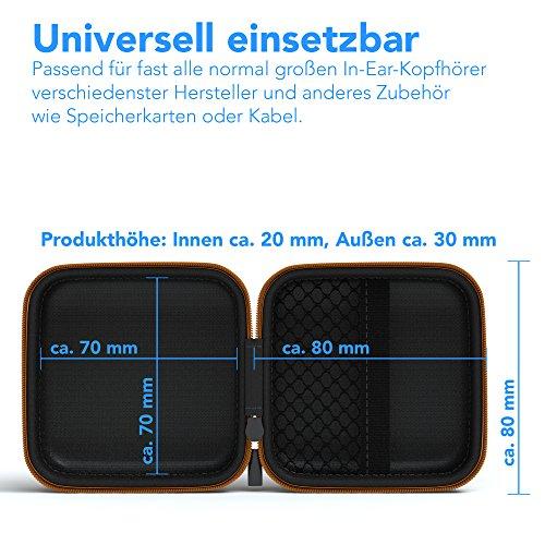 EAZY CASE Universal Tasche für In-Ear Kopfhörer mit Netzfach - Hardcase Aufbewahrungsbox, Schutztasche mit umlaufenden Reißverschluss, extra klein, eckig, Orange - 2