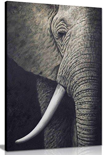 Elefante africano en blanco y negro lienzo pared Art imagen impresión, negro/blanco,...