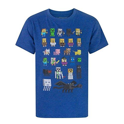 Minecraft - Camiseta Oficial diseño Personajes Sprites para niños (7-8 Años/Azul)