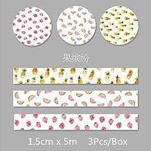 WRITIME 3 Unids/Caja 1.5 cm x 5 m Fresco Patrón floral washi cinta decoración DIY scrapbooking Planificador cinta adhesiva adhesiva kawaii papelería, 04 frutas