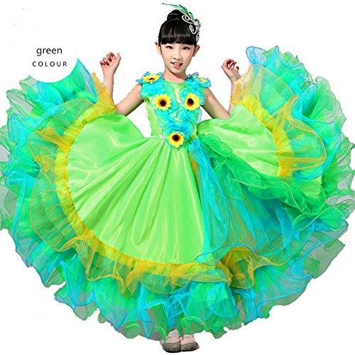 Wgwioo Kinder Flamenco Kleider Zeigen Kostüm Rock Modernen Tanz Stier Mädchen 180 360 540 720 Grad Performance Big Swing Chorus, Green Skirt 180, 140Cm