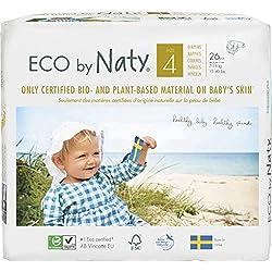 Eco by Naty, Taglia 4, 156 pannolini, 7-18kg, fornitura di UN MESE, Pannolino ecologico premium a base vegetale con lo 0% di plastica a base di petrolio sulla pelle.