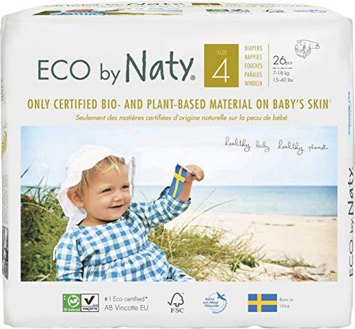 NATY by Nature Babycare 8178389 Eco by Naty Premium Bio-Windeln für empfindliche Haut, Größe 4, 7-18 kg, 6 Packung à 26 Stück (156 Stück insgesamt), weiß
