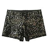 Babyicon Damen Sexy Sequins Shorts Hot Hosen Tanz Hip Hop Jazz Sänger Nachtclub (M, Schwarz)
