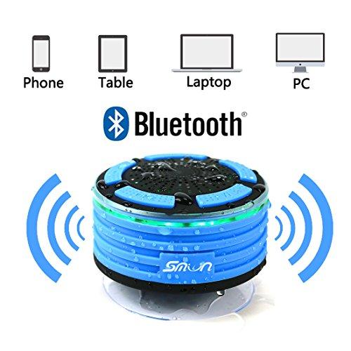 Smilin Portable Bluetooth Speaker Lautsprecher tragbarer Wasserdicht Wireless Funk Lautsprecher Wasserdicht mit Saugnapf Freisprecheinrichtung, integriertes Mikrofon für Freisprechfunktion mit FM-Radio, staub und stoßfest 100% Geld zurück-Garantie, CE/ROHS zertifiziert/FCC zertifiziert (Stil 1) - 3