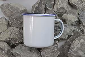 tasse, émail, blanc-bleu, 8 cm diametre, 0,3 l