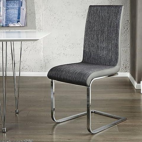 Design Delights Xtradefactory Contrasto Chaise pour salle à manger Anthracite/noir