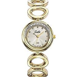Joalia 631939-Ladies Watch-Analogue Quartz-Silver Dial-Golden Metal Strap