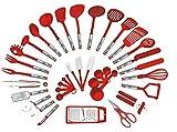 Preferred Housewares International Ustensiles de cuisine de 38 pièces Set Accueil Outils de cuisine Pinces de tournage Spatules Pizza Cutter fouet ouvre-bouteille, râpes éplucheur, ouvre-boîte Rouge