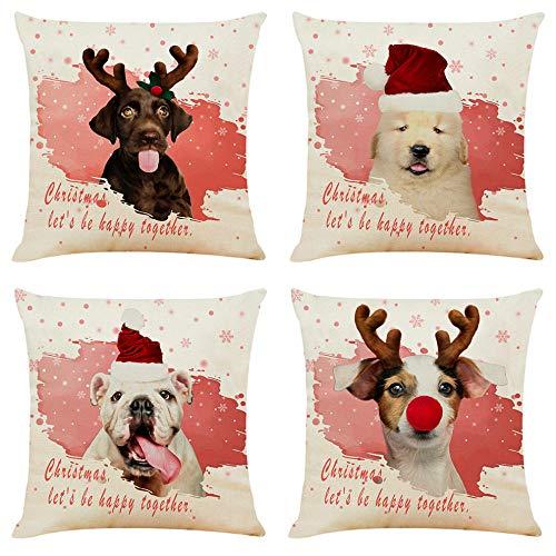 ZHAOCC Kissenbezug Kissenbezug Sofa Kissenbezug 4 Stück Set Sofakissen Weihnachten Hund Asiatische Sofa Schlafzimmer Wohnzimmer Dekoration - Asiatischen Set Sofa