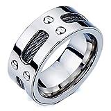 Herren-Ring- Band- Ehering- Trauring- Edelstahl- mit Stahl-Kabel und Schrauben(10)