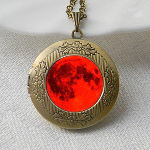 Red Moon-Collana con medaglione, in vetro, motivo: