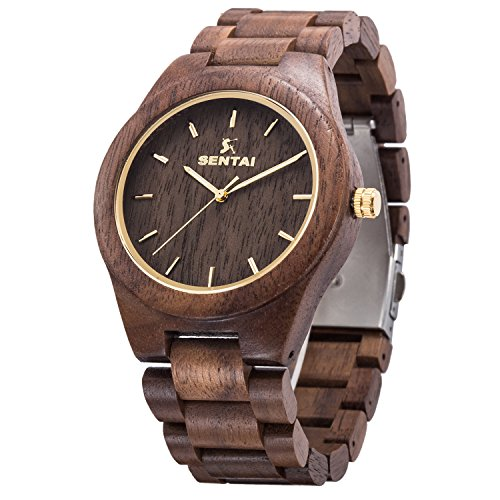 Orologio da uomo in legno, orologi al quarzo vintage fatti a mano, Sentai orologio da polso in legno naturale - legno di noce nera