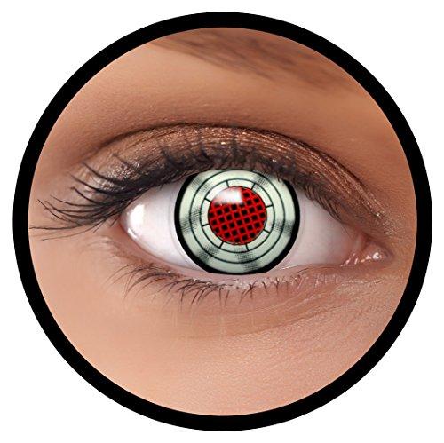 Terminator Kostüm Halloween - FXEYEZ® Farbige Kontaktlinsen grau rot Terminator + Linsenbehälter, weich, ohne Stärke als 2er Pack - angenehm zu tragen und perfekt zu Halloween, Karneval, Fasching oder Fasnacht