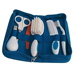 Reer - Kit de Toilettes Bébé - 10 Accessoires dans Etui Bleu