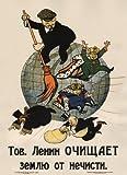 """Poster su carta illustrata lucida, formato A3, in stile vintage del 1920 circa, riproduzione del manifesto di propaganda delle Rivoluzione Russa con scritta """"Il compagno Lenin spazza via la gentaglia dal mondo"""", 250 g/m² [lingua russa]"""